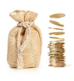 Stack of coins and money bag — Stock Photo