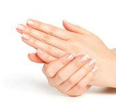Piękne kobiece dłonie z francuski manicure — Zdjęcie stockowe
