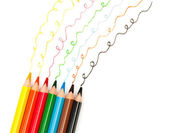 Color pencils drawing lines — Stock Photo