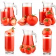 Set of tomatoes juice in pitcher with fruits isolated — Stock Photo
