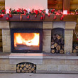 Stock Photo: Fireplace flames in winter (Christmas Scene)