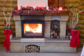 Fireplace flames in winter (Christmas Scene) — ストック写真