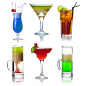 Set of alocohol coctails with fruits isolated on whit — Stock Photo