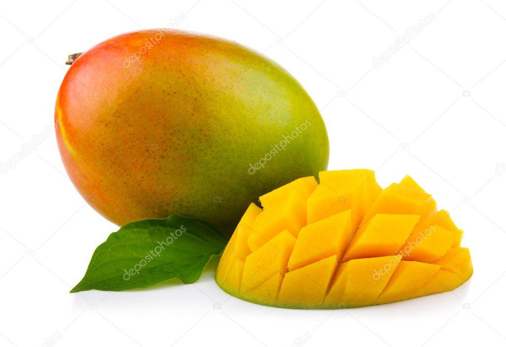 frischer mango frucht mit schnitt und green leafs isoliert stockfoto alphacell 8009704. Black Bedroom Furniture Sets. Home Design Ideas