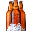 Three brown bottles of beer with ice isolated on white — Stock Photo #8010012