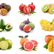 Set of exotic fruits isolated on white — Stock Photo #8978963
