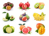 Set of exotic fruits isolated on white — Stock Photo