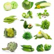 Set of fresh green vegetables isolated on white - Stock Photo