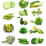 Set of fresh green vegetables isolated on white — Stock Photo