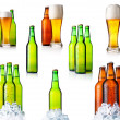 Set of bottles with beer and ice isolated on white — Stock Photo