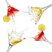 Set of martini cocktails with splash and lime isolated — Stock Photo