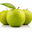 Three ripe green apples with isolated on white — Stock Photo