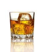Glass of whiskey and ice isolated on white — Stock Photo