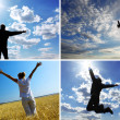 Stock Photo: Silhouettes on the sky background