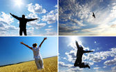 Silhouettes on the sky background — Stock Photo