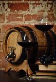 Retro still life with red wine — Stock Photo