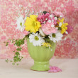 Bouquet of flowersin the green vase — Stock Photo