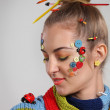 Portrait of a young blond woman with creativity make up — Stock Photo #8811228