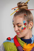 Portrait of a young blond woman with creativity make up — Stock Photo