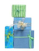 Boxs tied with a ribbon bow — Stock Photo