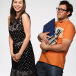 Stock Photo: Portrait of young funnu couple in studio