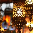Traditional vintage Turkish lamps over light background — Stock Photo