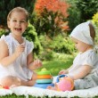 Stock Photo: Two little sisters in the summer garden