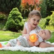 Foto Stock: Two playing little sisters