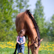 Child and horse in the field - Stock Photo
