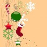 fundo de Natal com bolas e flocos de neve — Vetorial Stock