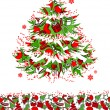 Christmas tree and seamless border — Imagen vectorial
