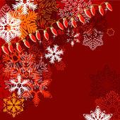 Sfondo rosso con fiocchi di neve — Vettoriale Stock