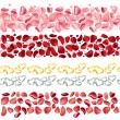 Seamless borders made of rose petals — Stock Vector