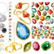 Big jewellery set with gems and rings — Stockvektor