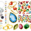 Big jewellery set with gems and rings — ストックベクタ