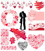 Valentine's collection of different hearts — Stock Vector