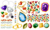 Big jewellery set with gems and rings — Stock Vector