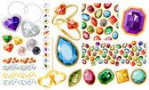 Grandes joyas con gemas y anillos — Vector de stock