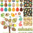 Stock Vector: Big easter set with traditional eggs.