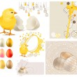 Big Easter Set with Yellow Chicken and Eggs — Stock Vector