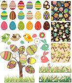 设置与传统鸡蛋大复活节. — 图库矢量图片