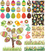 Big easter set with traditional eggs. — Vecteur