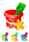 Children colourful bucket and toys — Vector de stock