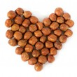 Heart made of nuts — Stock Photo