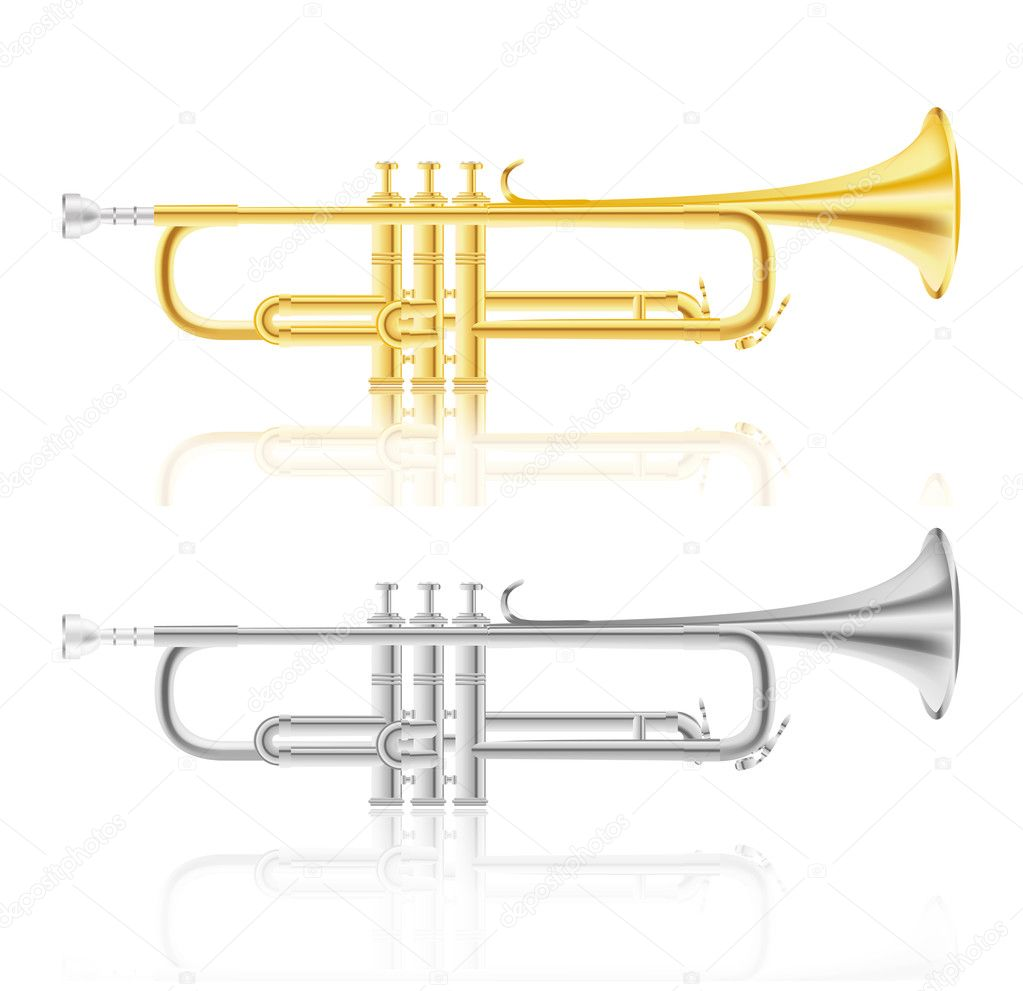 Set of golden and silver trumpet — Stock Vector #10257813