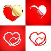 Set of abstract hearts shapes — Stock Vector