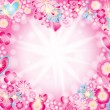 Heart made of flowers stars and rays — Stock Vector