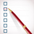 Check mark and pen - Stock Vector