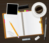 Otwórz dziennik i filiżankę kawy — Wektor stockowy