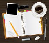öppen dagbok och kopp kaffe — Stockvektor